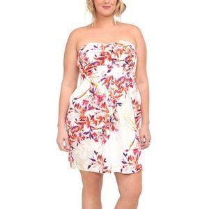 Torrid Ivory Cherry Blossom Strapless Dress